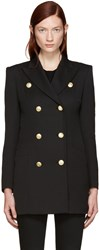 Balmain Pierre Black Gold Buttons Double Breasted Blazer
