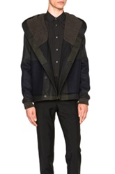 Stephan Schneider Match Jacket In Blue Gray Checkered And Plaid