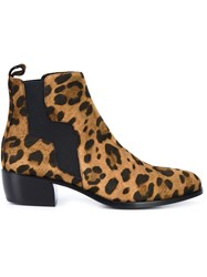 Pierre Hardy Leopard Print Boots Brown