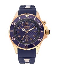 Kyboe Power Rose Goldtone Stainless Steel Strap Watch Navy Blue