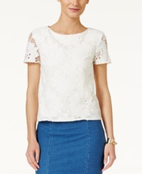 Cece By Cynthia Steffe Short Sleeve Floral Lace Blouse New Ivory