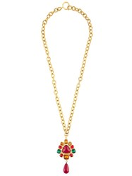 Chanel Vintage Gripoix Teardrop Pendant Necklace Metallic