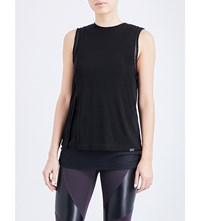 Koral Double Layered Jersey And Mesh Top Black