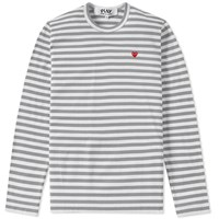 Comme Des Garcons Play Little Red Heart Long Sleeve Striped Tee Grey
