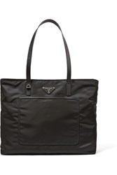 Prada Vela Leather Trimmed Shell Tote Black