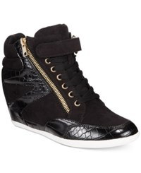 Thalia Sodi Azar High Top Wedge Sneakers Only At Macy's Women's Shoes Black Microsuede