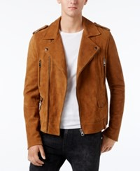 Guess Men's Heavy Suede Biker Jacket Bone Brown Multi