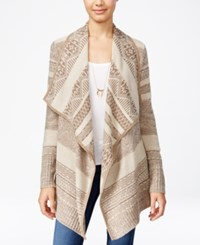 Ohmg Juniors' Draped Aztec Pattern Cardigan Oatmeal Toasted Heather