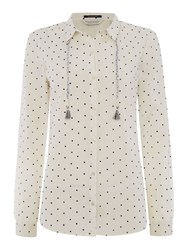 Maison Scotch Lightweight Long Sleeve Polka Dot Shirt White