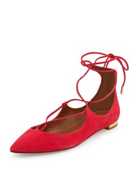Christy Lace Up Pointed Toe Suede Flat Sorbet Aquazzura Pink