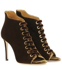 Jimmy Choo Mavy 100 Peep Toe Velvet Ankle Boots Brown