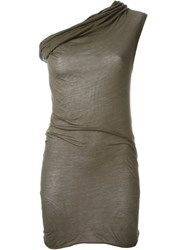Rick Owens One Shoulder Draped Top Green