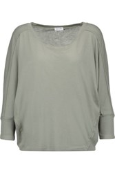 Splendid Waffle Knit Trimmed Supima Cotton And Micro Modal Blend Top Gray Green
