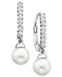 Belle De Mer 14K White Gold Earrings Diamond 1 4 Ct. T.W. And Cultured Freshwater Pearl Drop 8Mm