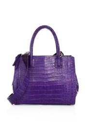 Nancy Gonzalez Small Double Zip Crocadile Tote Purple Black