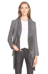Foundrae Suede Stretch Wool Jacket With Removable Fringe Knit Vest Grey