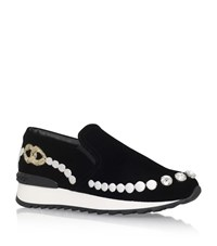 Casadei Embroidered Chain Sneakers Female Black