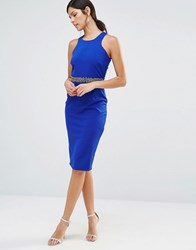 Little Mistress Bodycon Dress With Embellished Waistline Blue Coral