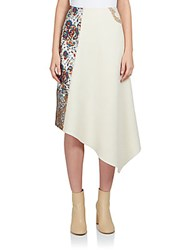 Stella Mccartney Belinda Patchwork Asymmetrical Midi Skirt White Multi