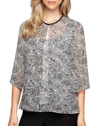 Alex Evenings Plus Paisley Print Bolero Black White