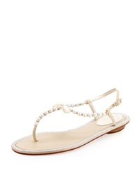 Rene Caovilla Pearly And Crystal Flat Thong Sandal Ivory