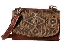 American West Mystic Shadow Small Crossbody Wallet Distressed Charcoal Brown Chestnut Brown Cross Body Handbags