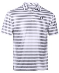 Under Armour Men's Tech Stripe Golf Polo White