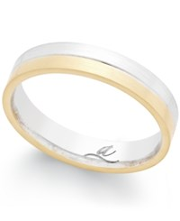 Macy's Two Tone Band In 18K Gold And White Gold