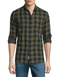 Rag And Bone Beach Check Long Sleeve Sport Shirt Olive
