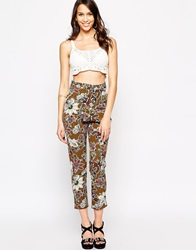 Love Tapered Trousers In Paisley Print Olivepaisley