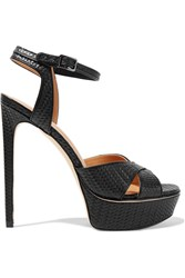 Halston Naomi Embossed Leather Sandals Black