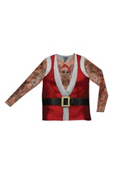 Faux Real 'Tattoo Santa' Novelty Graphic T Shirt Red