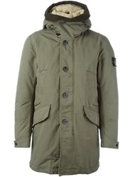 Stone Island Arm Patch Hooded Coat Green