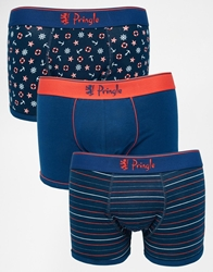 Pringle Trunks In 3 Pack Bluered