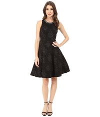 Maggy London Embossed Rose Crepe Fit And Flare With Beaded Neck Black Women's Dress
