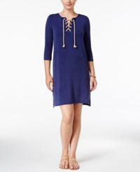 G.H. Bass And Co. Three Quarter Sleeve Lace Up Dress True Navy