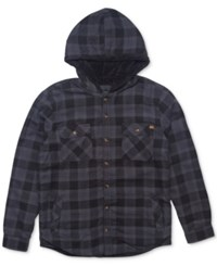 Rip Curl Men's Cassidy Flannel Plaid Shirt With Faux Fur Lining Charcoal