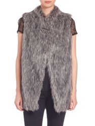 Dkny Faux Fur Vest Grey