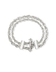 Steve Madden Double Layer Twisted Rolo Chain Bracelet Silver