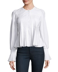 Collarless Pleated Cotton Blouse White