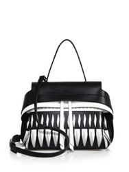 Tod's Wave Mini Two Tone Laser Cut Leather Satchel White Black
