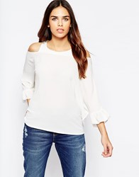 Wal G Top With Cold Shoulder And Frill Sleeve White