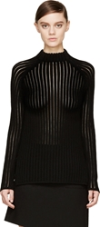 Neil Barrett Black Ribbed Knit Crewneck Sweater