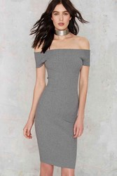 Nasty Gal Tori Ribbed Off The Shoulder Dress Gray
