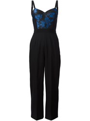 Stella Mccartney Floral Cropped Jumpsuit Black