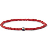 Luis Morais Gold Bead And Enamel Bracelet Red