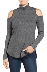 Bobeau Women's Cold Shoulder Mock Neck Top Heather Charcoal Lurex