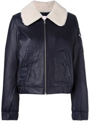 See By Chloe Shearling Collar Aviator Jacket Blue