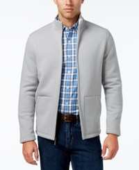 Club Room Men's Herringbone Fleece Jacket Only At Macy's Brushed Alloy