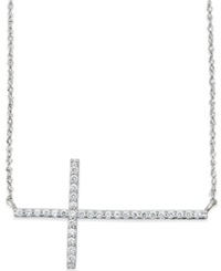 Macy's Diamond Sideways Cross Pendant Necklace In 14K White Gold 1 4 Ct. T.W. No Color